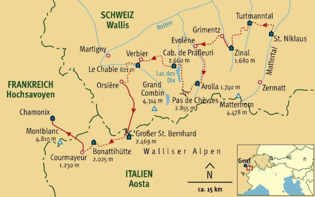 Entlang der legendären Haute Route von Zermatt nach Chamonix